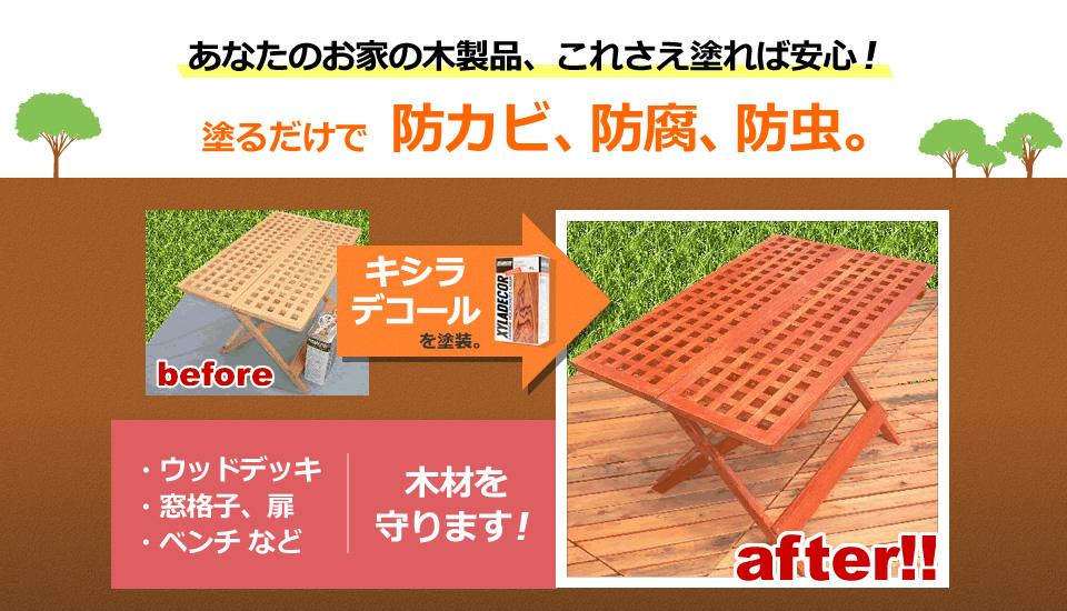 あなたのお家の木製品、これさえ塗れば安心!塗るだけで防カビ、防腐、防虫。